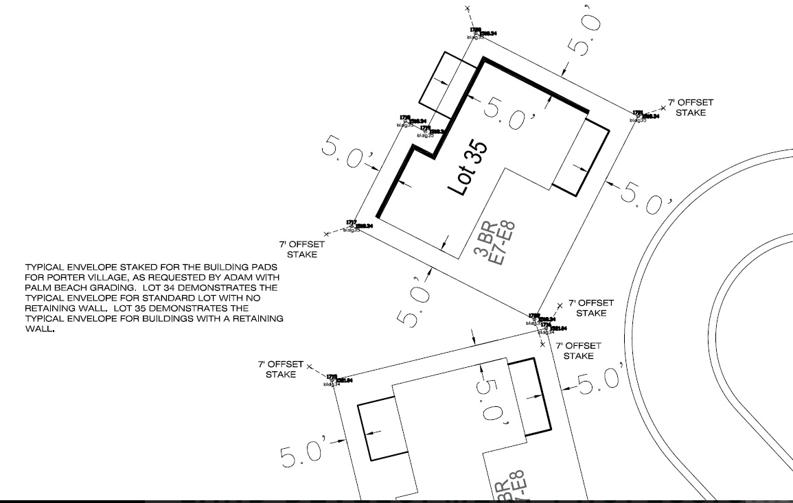 Construction staking also known as a site layout survey is the process of interpreting construction plans